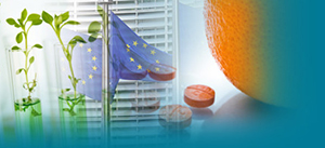 collage of plants in a vase, EU flag in front of a building, and pills on a table next to an orange