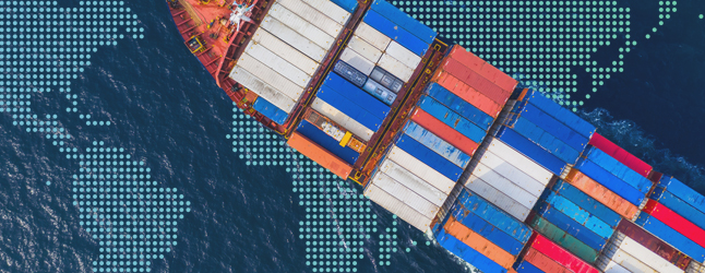 Aerial image of a cargo ship