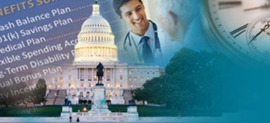 collage of employee benefits terms, us capital building, doctor and patient, and clock