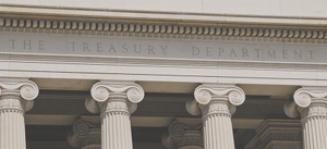 Photography of U.S. Treasury Department building columns