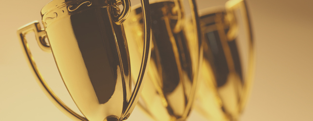 Photograph of gold trophies
